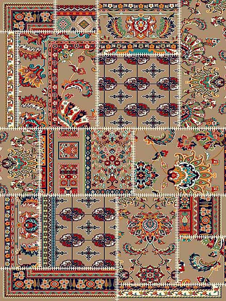فرش (258) پلی پروپیلن - 8 رنگ - 320 شانه - بژ - تراکم 960