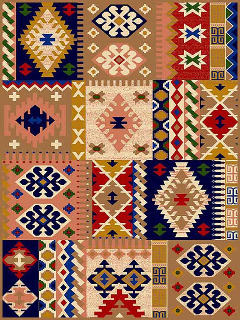 فرش (264) پلی پروپیلن - 8 رنگ - 320 شانه - بژ - تراکم 960