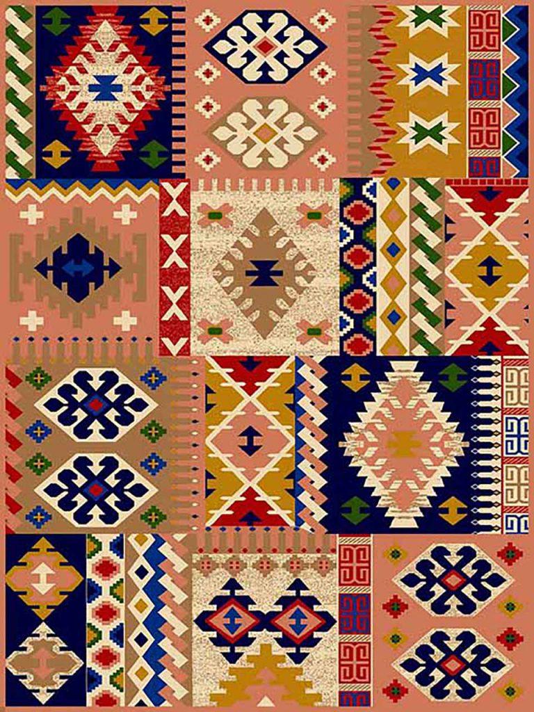 فرش (264) پلی پروپیلن - 8 رنگ - 320 شانه - صورتی - تراکم 960