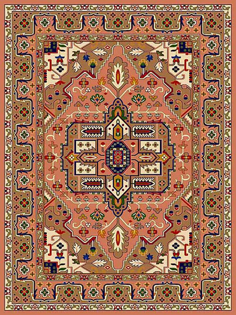 فرش (265) پلی پروپیلن - 8 رنگ - 320 شانه - صورتی - تراکم 960