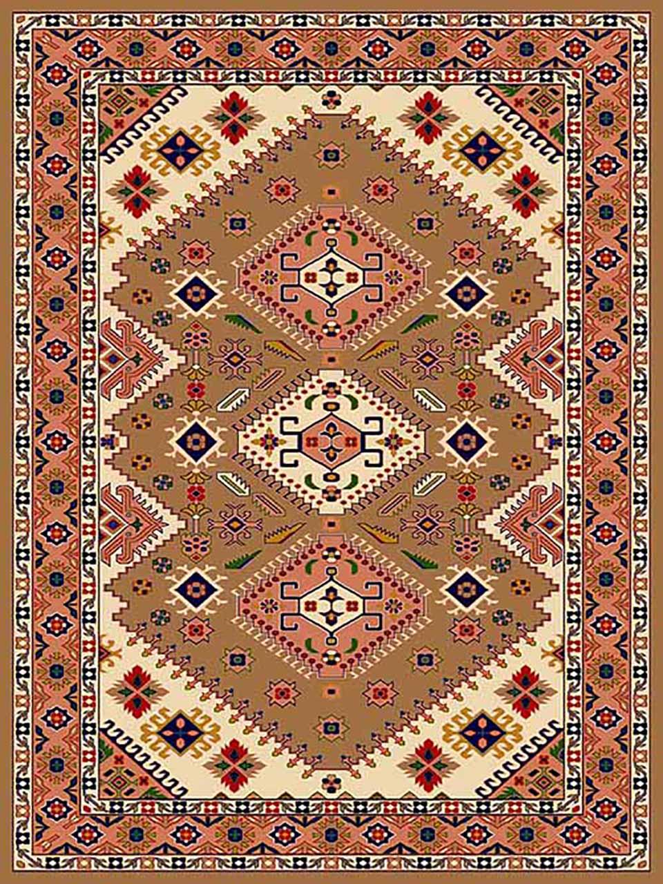 فرش (266) پلی پروپیلن - 8 رنگ - 320 شانه - بژ - تراکم 960