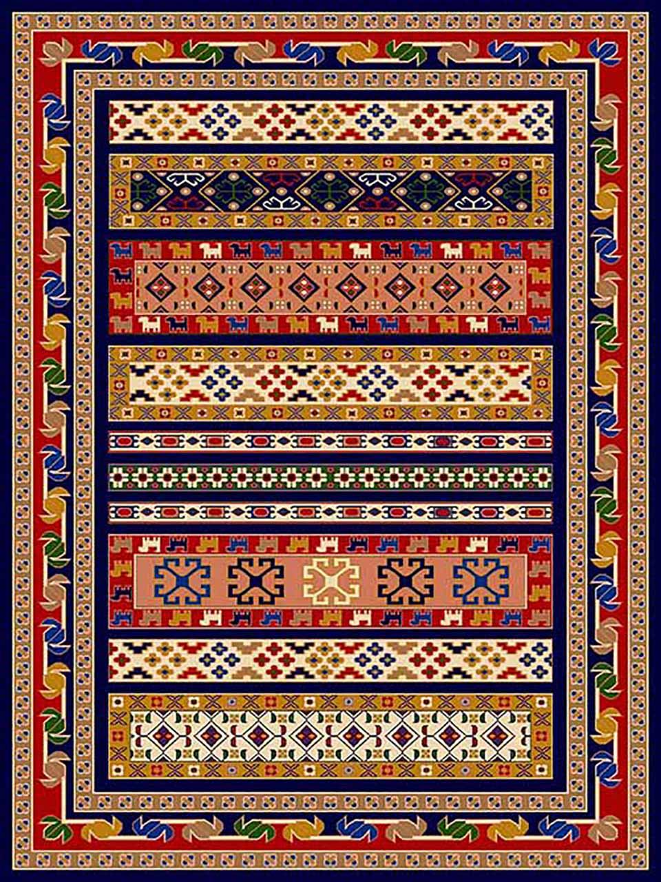فرش (268) پلی پروپیلن - 8 رنگ - 320 شانه - سورمه ای - تراکم 960