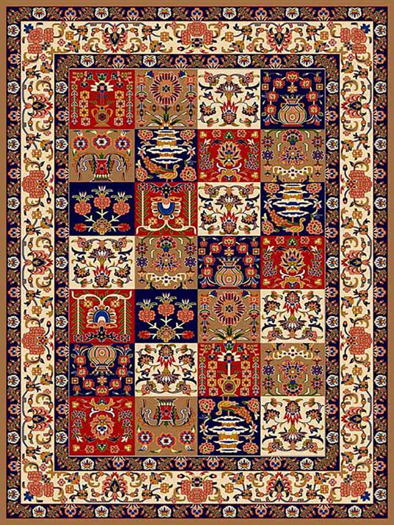 فرش (269) پلی پروپیلن - 8 رنگ - 320 شانه - بژ - تراکم 960
