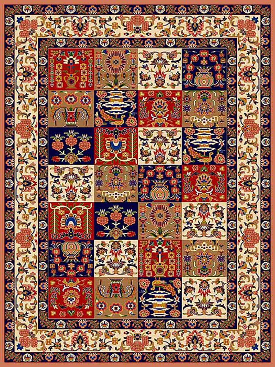 فرش (269) پلی پروپیلن - 8 رنگ - 320 شانه - صورتی - تراکم 960