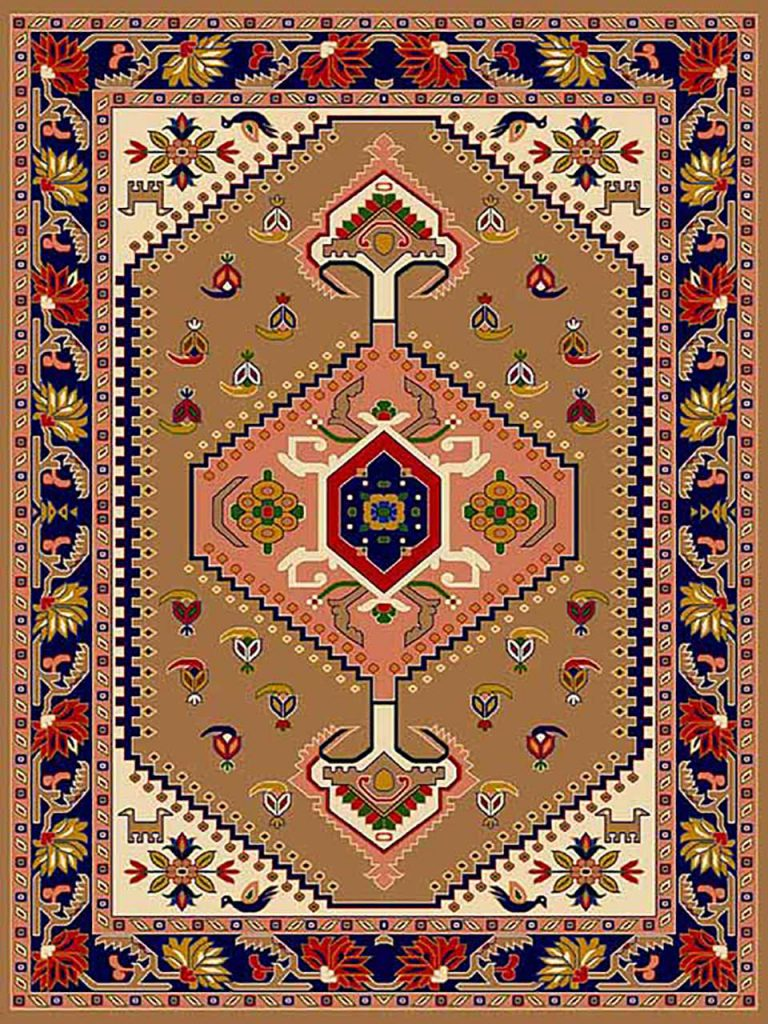 فرش (270) پلی پروپیلن - 8 رنگ - 320 شانه - بژ - تراکم 960