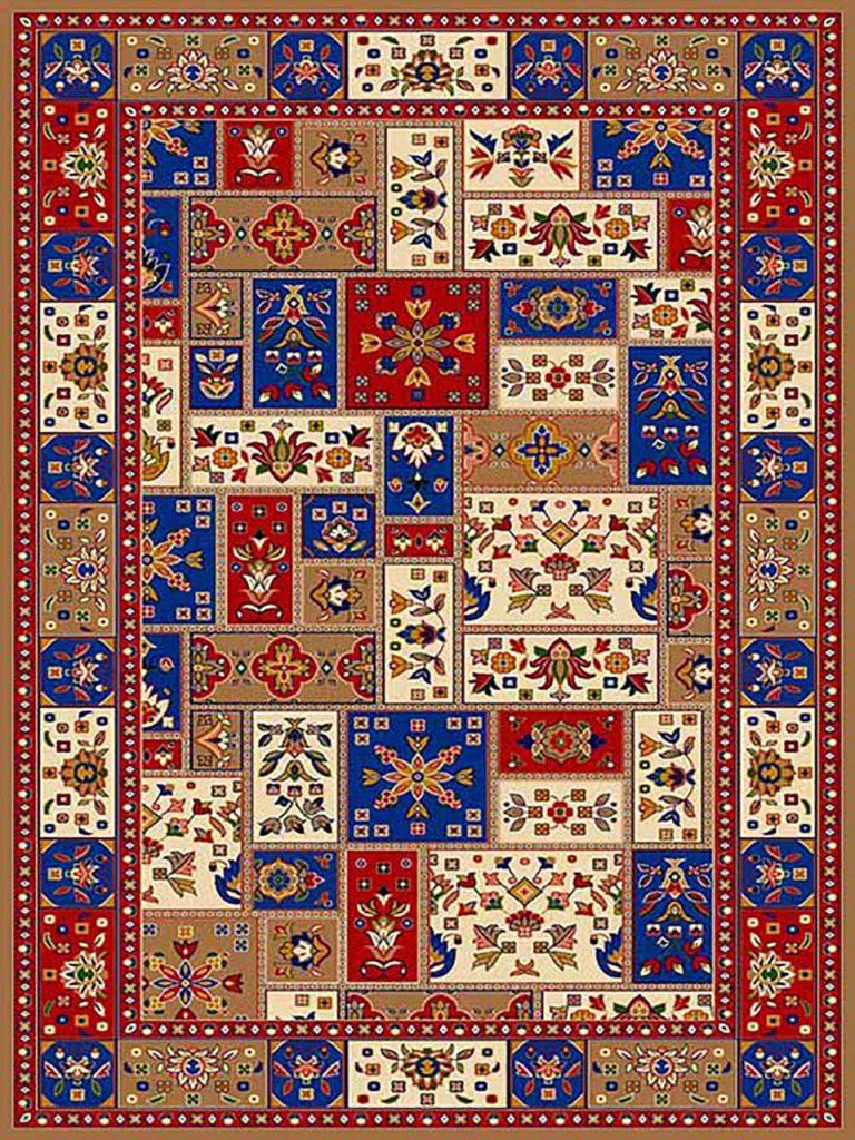 فرش (272) پلی پروپیلن - 8 رنگ - 320 شانه - بژ - تراکم 960