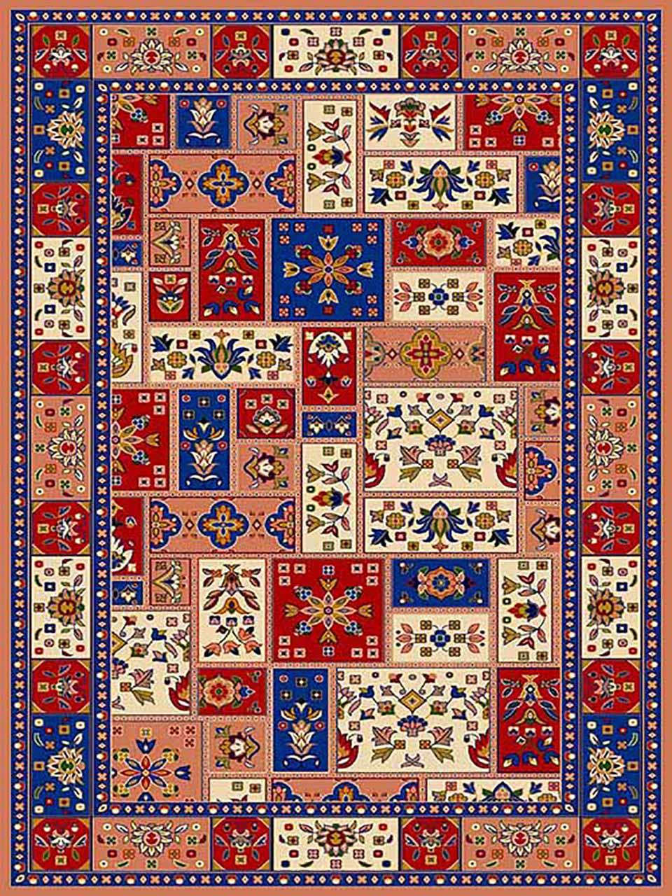 فرش (272) پلی پروپیلن - 8 رنگ - 320 شانه - صورتی - تراکم 960