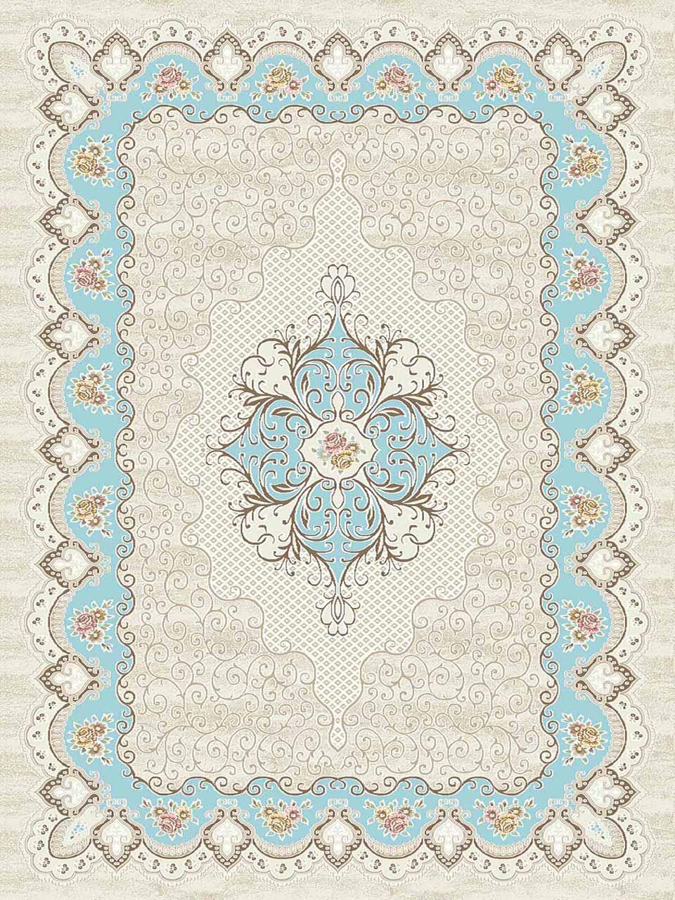 فرش (3102) اکریلیک - 8 رنگ - 410 شانه - کرم آبی - تراکم 1700