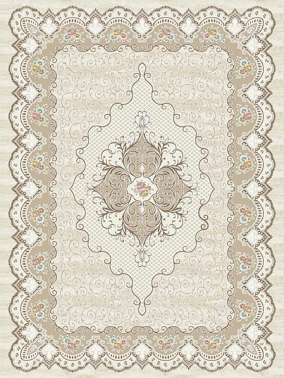 فرش (3102) اکریلیک - 8 رنگ - 410 شانه - کرم - تراکم 1700