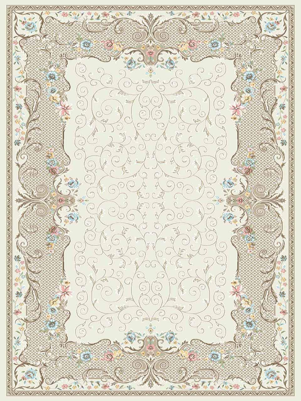 فرش (3103) اکریلیک - 8 رنگ - 410 شانه - کرم - تراکم 1700
