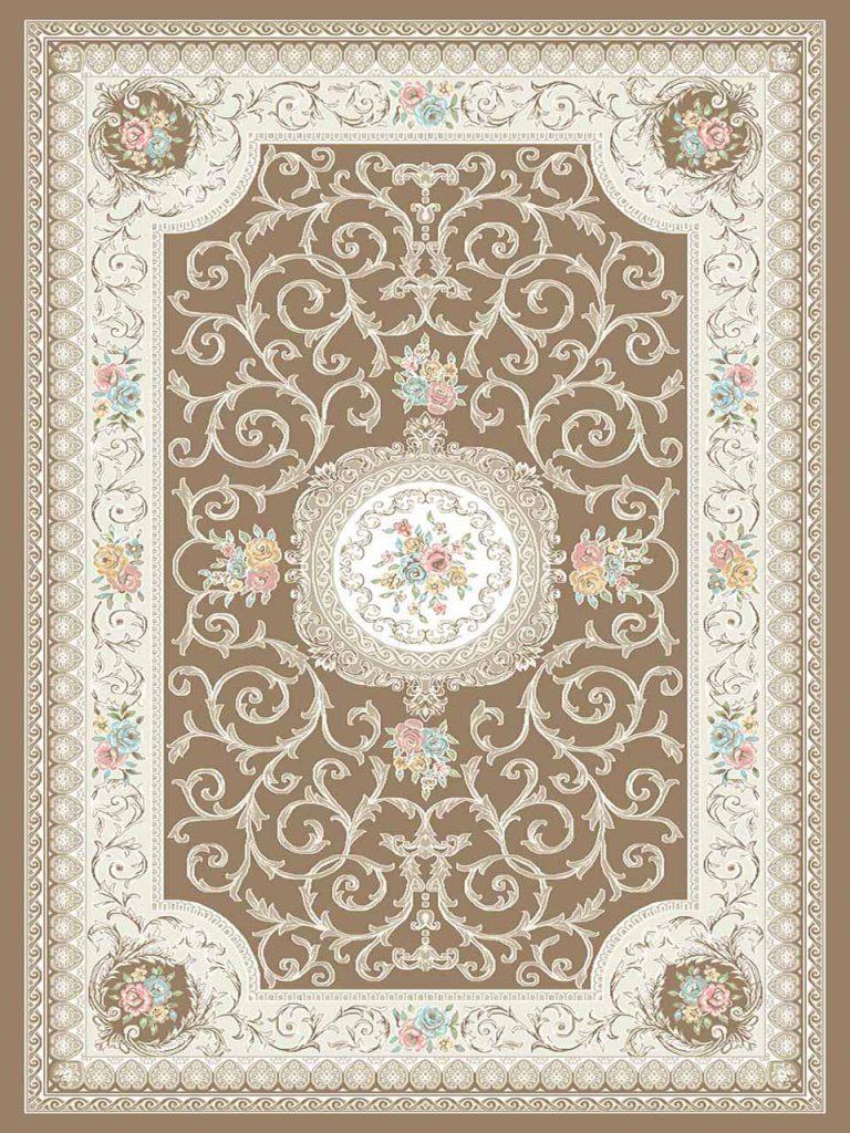 فرش (3104) اکریلیک - 8 رنگ - 410 شانه - کرم بژ - تراکم 1700