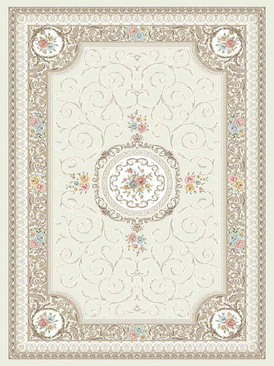 فرش (3104) اکریلیک - 8 رنگ - 410 شانه - کرم - تراکم 1700
