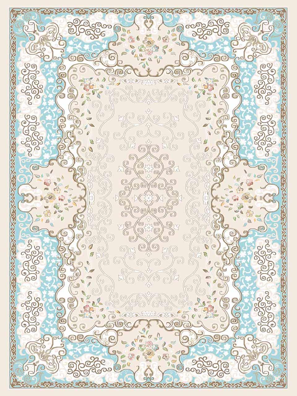 فرش (3105) اکریلیک - 8 رنگ - 410 شانه - کرم آبی - تراکم 1700