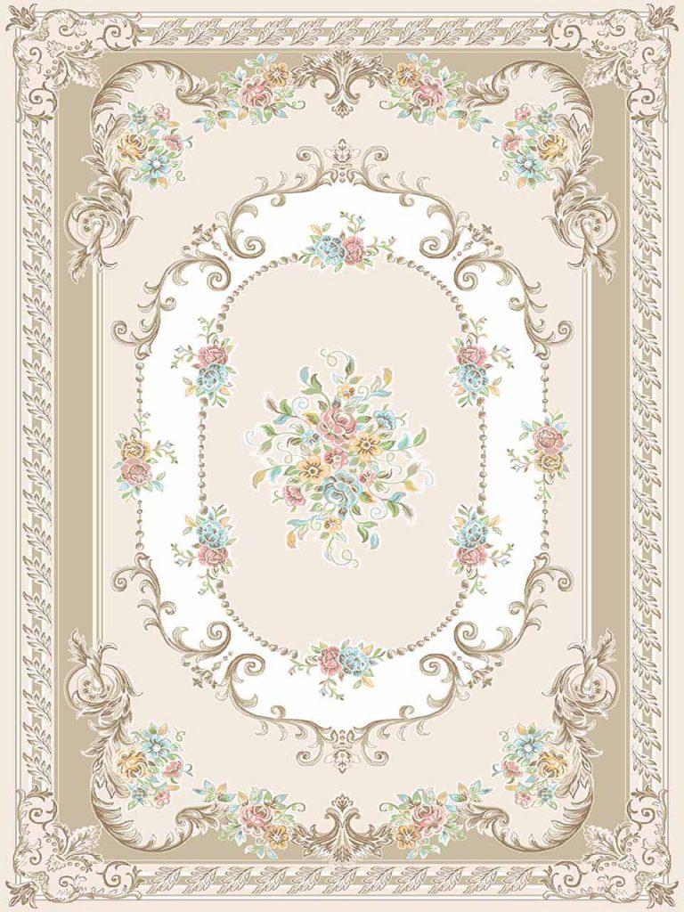 فرش (3106) اکریلیک - 8 رنگ - 410 شانه - کرم - تراکم 1700