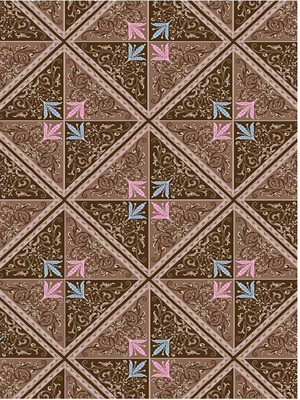 فرش (7000) پلی پرو پیلن - 8 رنگ - 410 شانه - قهوه ای - تراکم 1000