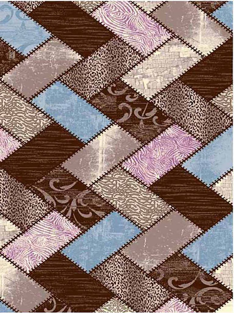 فرش (7004) پلی پرو پیلن - 8 رنگ - 410 شانه - قهوه ای آبی صورتی - تراکم 1000