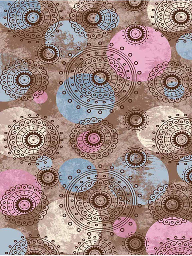 فرش (7006) پلی پرو پیلن - 8 رنگ - 410 شانه - کرم قهوه ای - تراکم 1000