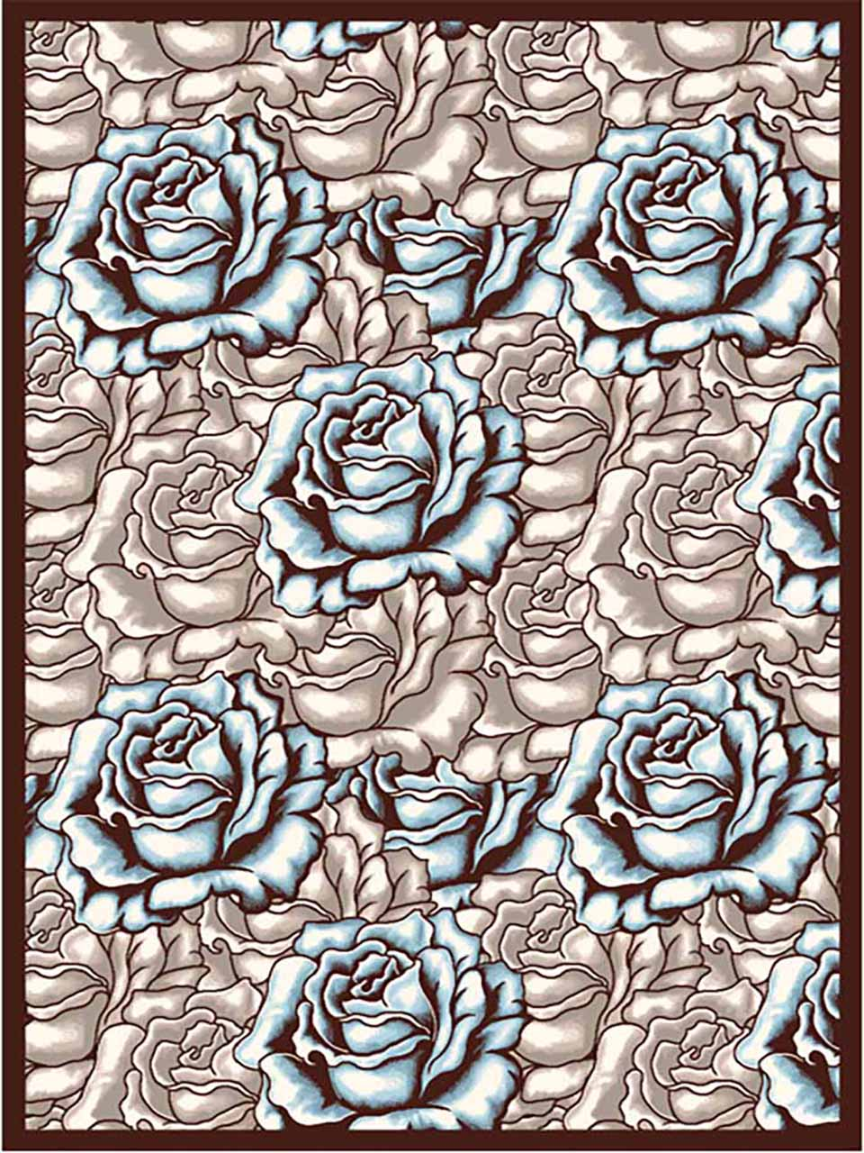 فرش (7010) پلی پرو پیلن - 8 رنگ - 410 شانه - قهوه ای آبی - تراکم 1000