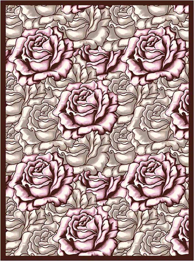 فرش (7010) پلی پرو پیلن - 8 رنگ - 410 شانه - قهوه ای صورتی - تراکم 1000