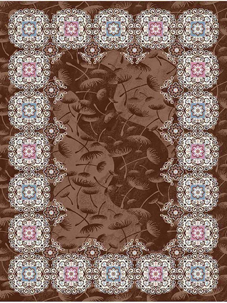 فرش (7015) پلی پرو پیلن - 8 رنگ - 410 شانه - قهوه ای - تراکم 1000