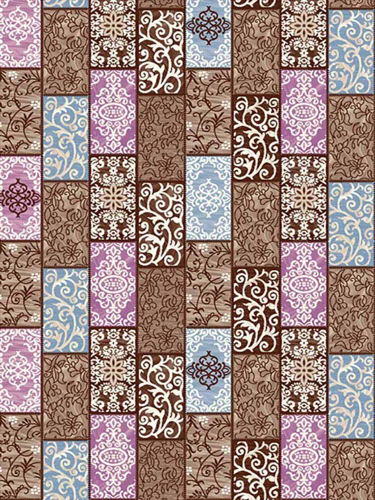 فرش (7016) پلی پرو پیلن - 8 رنگ - 410 شانه - قهوه ای - تراکم 1000