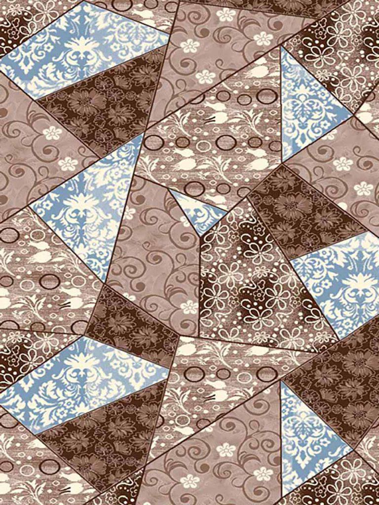 فرش (7017) پلی پرو پیلن - 8 رنگ - 410 شانه - قهوه ای آبی - تراکم 1000