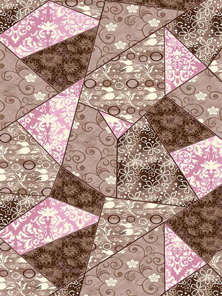 فرش (7017) پلی پرو پیلن - 8 رنگ - 410 شانه - قهوه ای صورتی - تراکم 1000