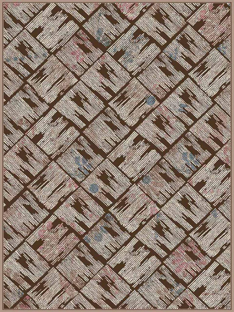 فرش (7028) پلی پرو پیلن - 8 رنگ - 410 شانه - قهوه ای - تراکم 1000