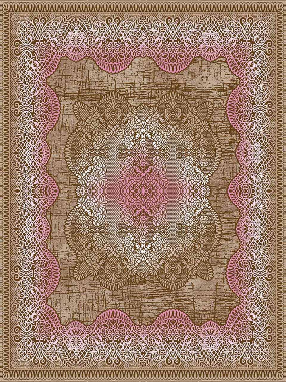 فرش (7032) پلی پرو پیلن - 8 رنگ - 410 شانه - قهوه ای صورتی - تراکم 1000