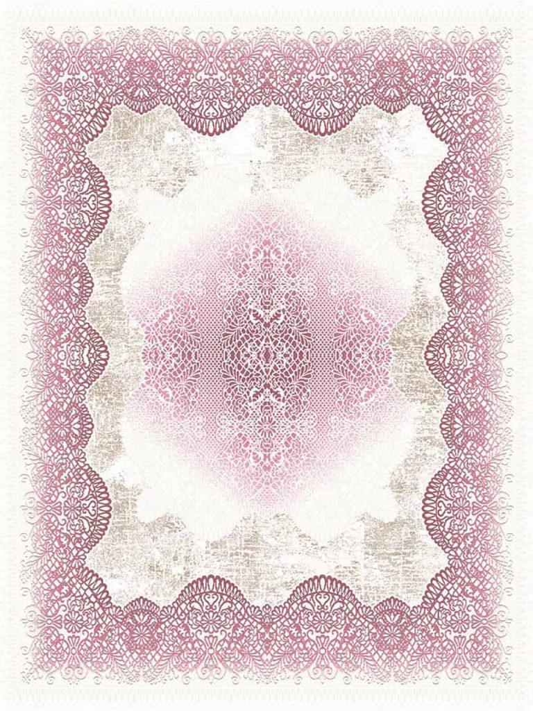 فرش (7032) پلی پرو پیلن - 8 رنگ - 410 شانه - کرم صورتی - تراکم 1000
