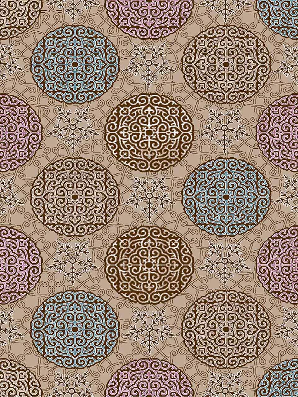 فرش (7034) پلی پرو پیلن - 8 رنگ - 410 شانه - قهوه ای - تراکم 1000
