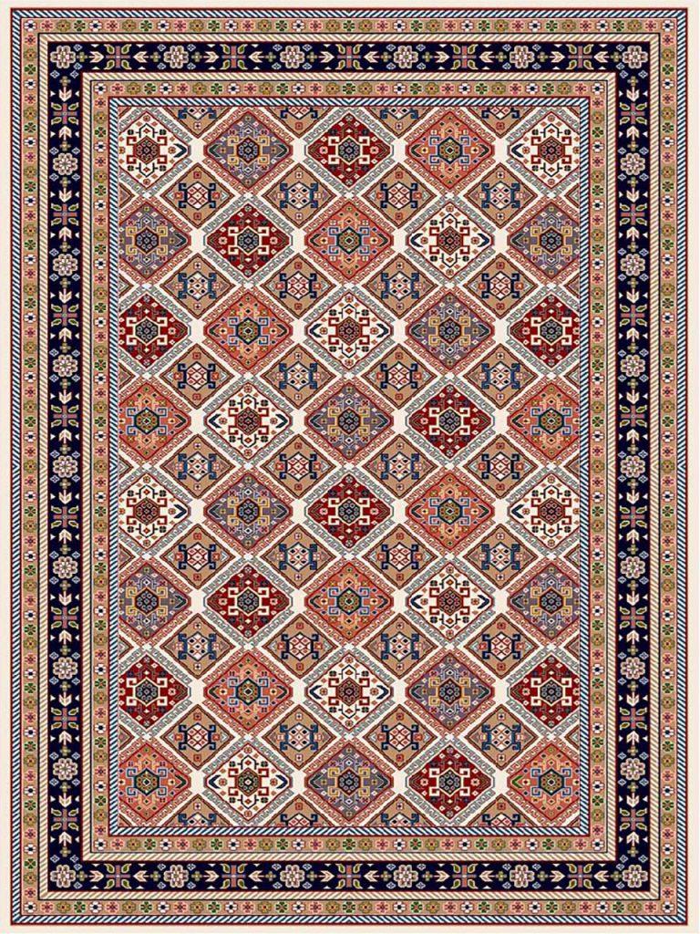 فرش (7200) پلی پروپیلن - 8 رنگ - 410 شانه - کرم - تراکم 1000