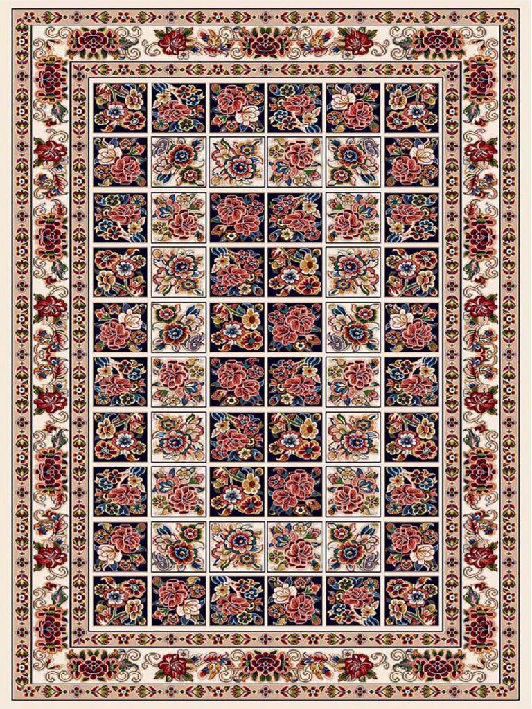 فرش (7202) پلی پروپیلن - 8 رنگ - 410 شانه - کرم - تراکم 1000