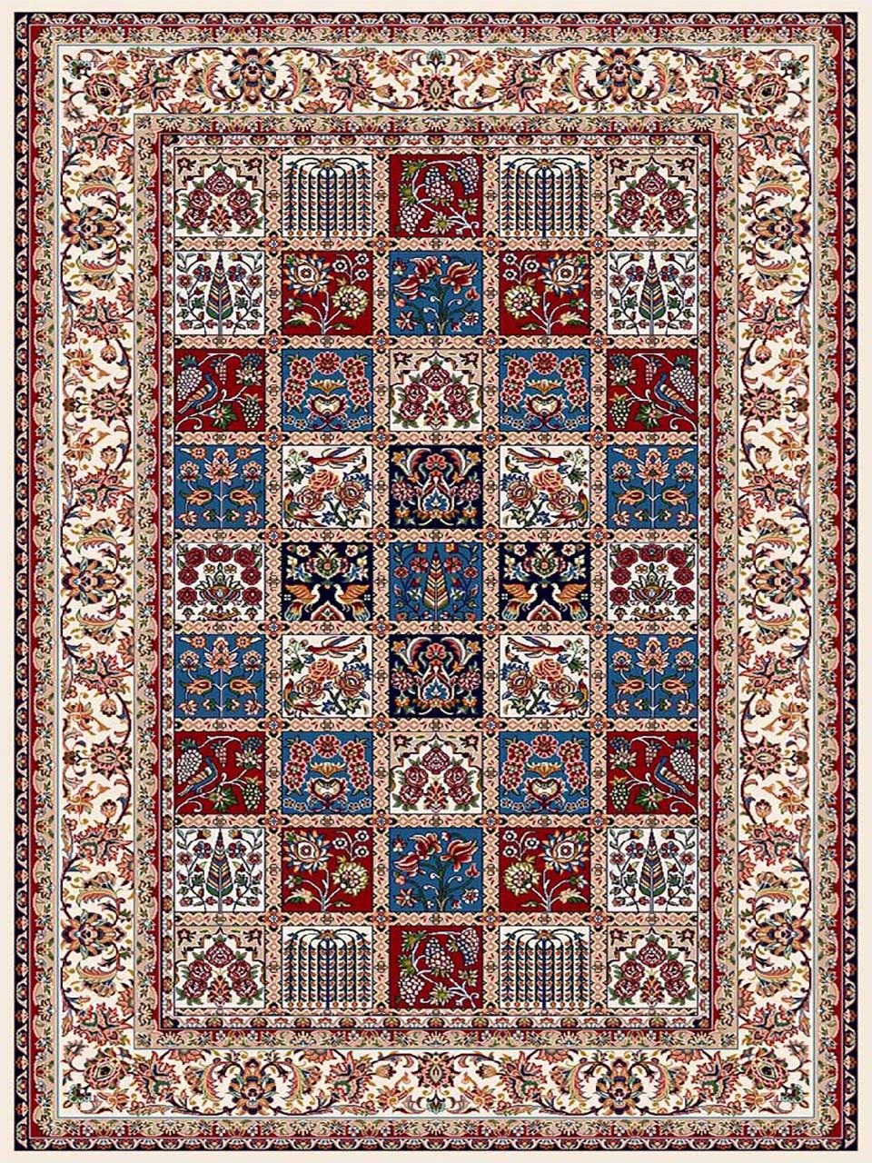 فرش (7203) پلی پروپیلن - 8 رنگ - 410 شانه - کرم - تراکم 1000