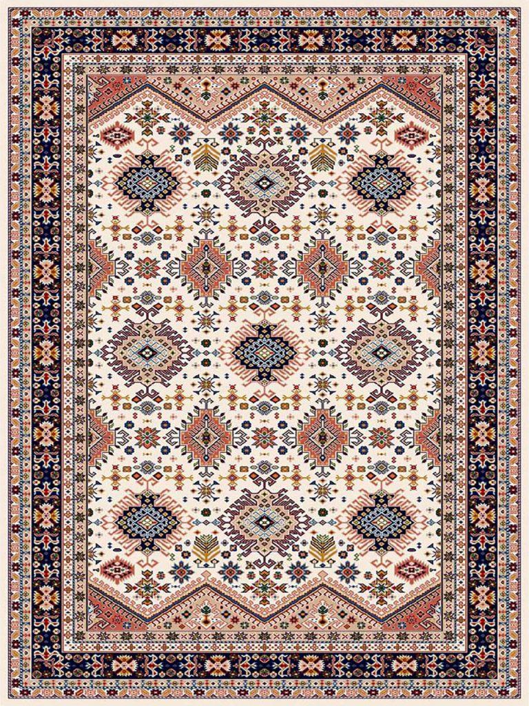 فرش (7206) پلی پروپیلن - 8 رنگ - 410 شانه - کرم - تراکم 1000