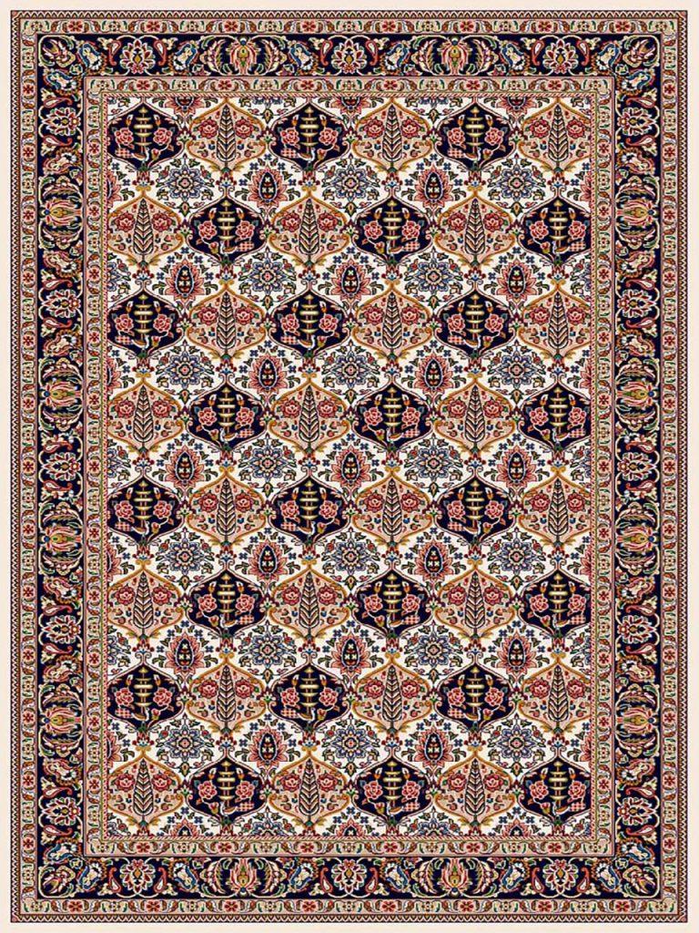 فرش (7207) پلی پروپیلن - 8 رنگ - 410 شانه - کرم - تراکم 1000